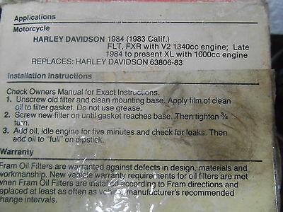 nos harley davidson fram oil filter flt fxr w/1340cc xl w/1000cc ph6011