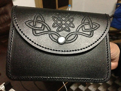 47a406577eee BLACK KILT BELT pouch With Celtic Embossed 100% real Leather sporran/pouch