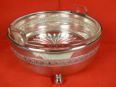 Monarch Plate Brand Ball-footed Silver Caddy w Clear Glass Handled Dish 2