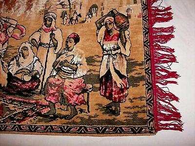BELGIUM Made, Vintage Rug Wall Hanging Tapestry w Fringe, Woman Dancing SUPERB! 6