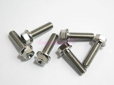 M8 x 25mm Titanium Ti Bolt Flange Head Screw Fastener GR5 2//6//10pcs 10mm Hex