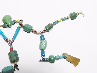 Zurqieh - Q61- Ancient Egypt. Strand Of Faience, Glass And Gold Amulets. 300 B.c 7