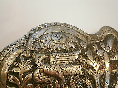 ANTIQUE OLD UNIQUE FOLKLORE SILVER BELT CLASP BUCKLE 19'c - Church /Bird /Sun 8
