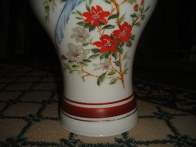 Superb Vintage Glass Lampshade-Painted Birds & Flowers-Bulbous Shape-Large-LQQK 9