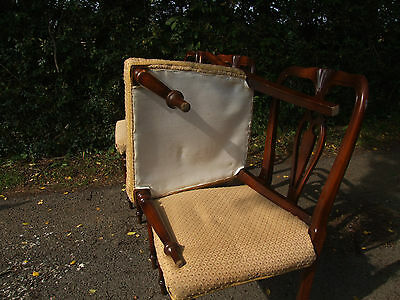 set of 4 wooden chairs, upholstered seats 6