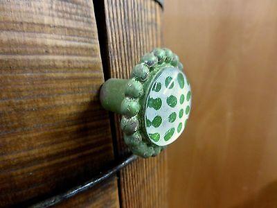 6 GREEN SUN FLOWER GLASS DRAWER CABINET PULLS KNOBS VINTAGE chic garden hardware 6