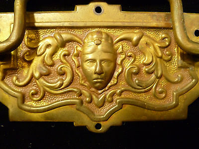 Set Of Six Victorian Brass Drawer Pulls With Human Mask Faces - Circa 1880 4