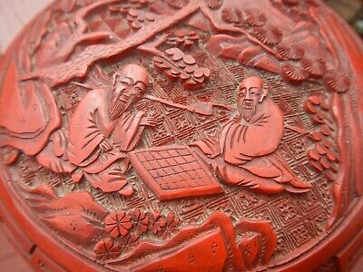 Antique Carved Chinese Cinnabar Lacquer Box Deep Vivid Red Figural Men Checkers 2