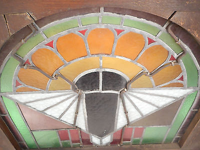 Unique Vintage Arched Stained Glass Window Panel (2828)NJ 5
