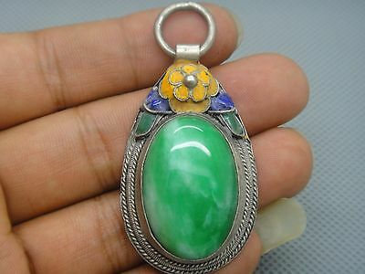 Collectibles Old Decorated Handwork tibet Silver Inlay Jade cloisonne Pendant01 5