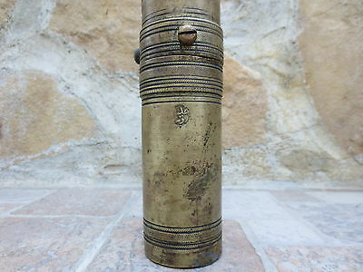 Primitive Antique Ottoman Brass-Carved TUGRA Marked Hand Coffee Grinder 19th #01 2