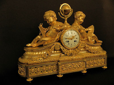 Antique French Solid Bronze Neo Classical Figural mantel Clock ca 1880 2