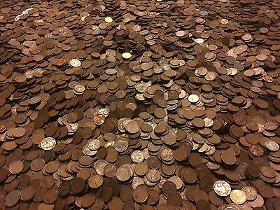 ✯1Lb Pound Unsearched Wheat Cents Lincoln Pennies✯Estate Sale Coins Lot✯1909-58✯ 12