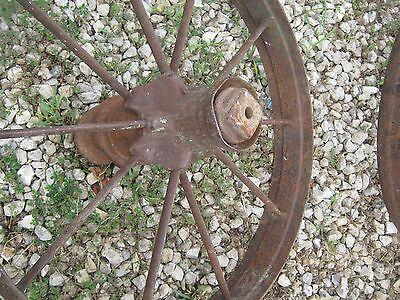 "Pair Vintage Rustic Iron Farm Implement Wheel Farm decor 28"" diameter 4"" thick 8"