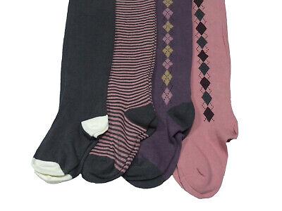 Girls 4 pairs Tights Argyle Stripe Plain Bargain Stock Autumn Warm Comfy School 2