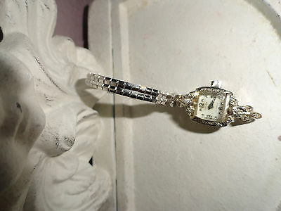 ART DECO 14K WHITE GOLD GRUEN 23 JEWEL WRIST WATCH & 10 GENUINE DIAMONDS 30's