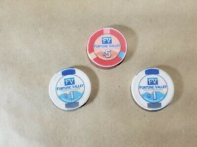 Lot of 3 Fortune Valley Casino Chips One $5, and Two $1 Central City Colorado 2