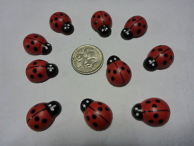 10 Wooden Multi-coloured Rainbow Ladybugs Flat Backs Scrap Booking Art Craft 8