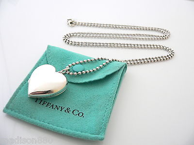 49939582d ... Tiffany & Co Silver Large Heart Locket Necklace Pendant 34 In Bead Chain  Pouch 9