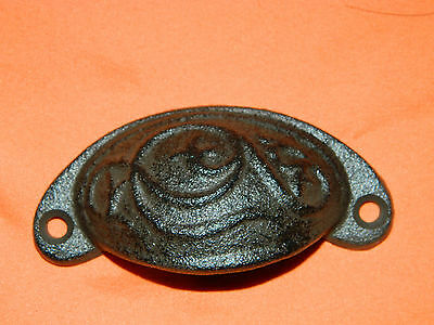 SET/6 Rustic Antique Style Cast Iron Curved Embossed Pattern Drawer Pull Handle 4