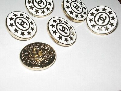 Chanel  buttons  set of 6 sz 18mm lot of 6 WHITE GOLD STARS CC LOGO 3
