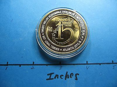 1.7 Oz Bottlenose Dolphin 1995 Harrahs 15Th Ann 999 Silver Gold $20 Gaming Coin