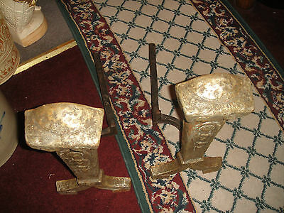 Antique Cast Iron Metal Medieval Gothic Andirons-Fireplace Inserts-Marked 25 12