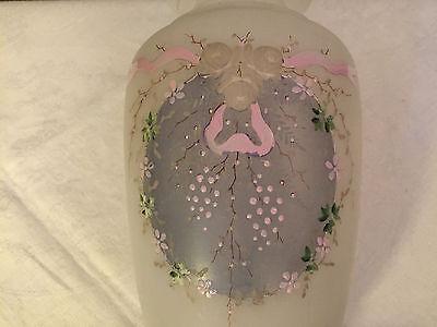 riesige antike Vase Opalglas  Emaillemalerei sehr schönes Teil 19.Jhd ca 33 cm 12