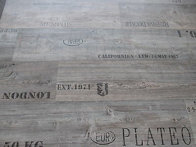 PVC CV M² Bodenblag Holz Optik Schriftzüge Grau Cm Natur - Pvc antik optik