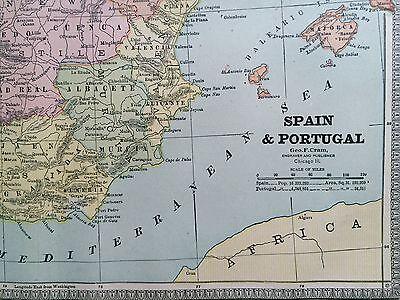 Spain portugal denmark belgium rare original 1885 antique crams 9 of 10 spain portugal denmark belgium rare original 1885 antique crams world atlas maps gumiabroncs Images