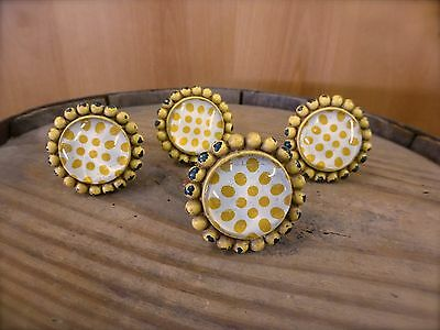 4 YELLOW SUNFLOWER GLASS DRAWER CABINET PULLS KNOBS VINTAGE chic child hardware 2