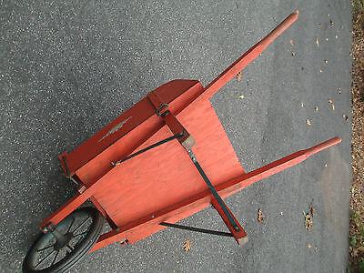 orange WOOD wheelbarrow  HORTICULTURIST original  VINTAGE - 1900's  WHEEL BARROW 11