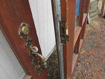 Vintage Entry Exterior Door Pull Handle Thumb Latch Set Locking