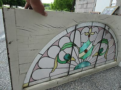 ~ ANTIQUE AMERICAN STAINED GLASS WINDOW 50.5 x 25 ~ ARCHITECTURAL SALVAGE ~ 9
