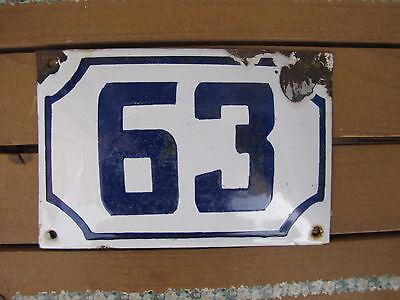 vintage ISRAELI enamel porcelain number 63 house sign # 63 CHRISTMAS SALE ! 2