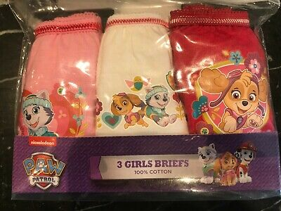 Girls Paw Patrol 3 Pack Pants Knickers Briefs Age 4-5 yrs Cotton Pink White Red 3