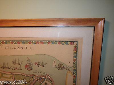 1661 Map New Amsterdam New York Duke's Plan Valentines Manual 1859 Argosy Framed 9