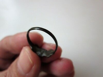 ancient late Byzantine/Medieval bronze ring,decorated with stone/glass. X-XIV AD 4