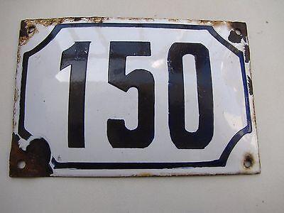 vintage PRE ISRAEL STATE  enamel porcelain sign  number 150   house  sign # 150 2