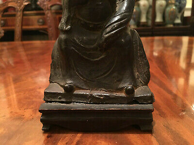 A Chinese Ming Dynasty Bronze Statue with Original Wooden Stand and Zitan Box. 12