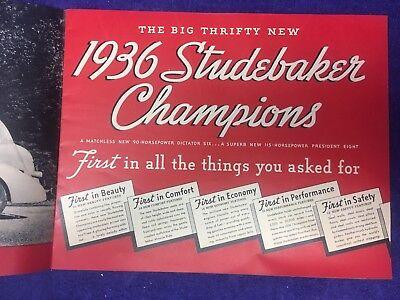 1936 Studebaker Dictator Six and President Eight Sales Brochure Original