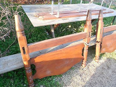 Old Walnut Bed 1890 ?  Old Wood Single Bed Hand Made 8