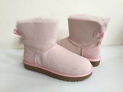 1fc143642d1 UGG CLASSIC MINI Bailey Bow Ii Metallic Seashell Pink Boot Us 10 / Eu 41 /  Uk 8