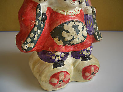 Japan vintage clay doll Mahakala One of the Seven Lucky Gods antique #12104 7