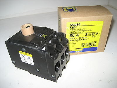 New In Box Square D QO380 3 Pole 80 AMP 240V 3P 80A Plug-On Circuit Breaker