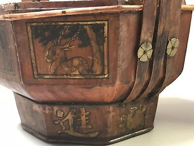 Antique Chinese Wooden Wedding Basket hand painted with Authentic SEALl (No Lid) 3