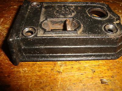 Door Latch Dead Bolt Slide Strike Cast Iron Antique Vintage Black 6