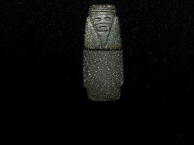 Pre-Columbian Axe God Pendant with Crouching Knees on Custom Stand, Authentic 9