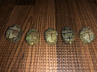 Five ( 5 ) Antique Egyptian Carved Stone Faience Scarab Beads Pendants 3