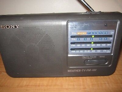 SONY ICF-36 PORTABLE RADIO Weather TV FM AM Band Radio - Tested Black WORKING 2